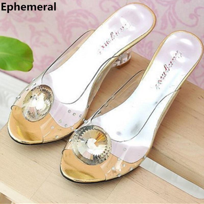 Lady's Plus size EU42 43 Transparent Crystal Wedges High Heels Sandalias Party Wedding Peep Toe Shoes Women Pumps Cidella Slides