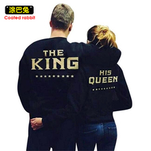 2017 New Lovers KING QUEEN Letters Print Men Women Couple Fleece Autumn Winter Hoodies Sweatshirts