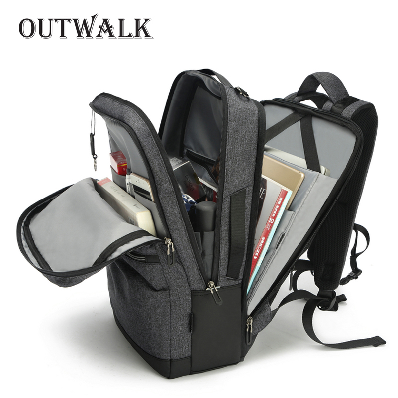 Outwalk Brand Men Backpack External Usb Charge Waterproof Backpack Male Functional Bags Travel Mochila School Bags For Teenagers