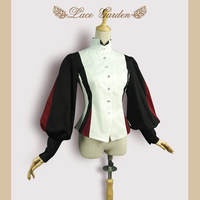 Stylish Victorian Vintage Blouse Women's Long Lantern Sleeve Color Blocked Stand Collar Top by Lace Garden