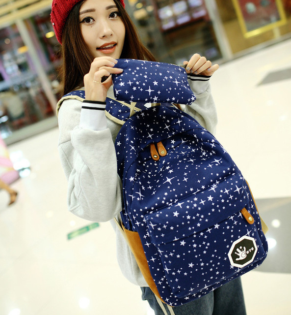 Fashion Star Women Canvas Backpack Schoolbags School For Girl Teenagers Casual Travel Bags Rucksack Cute Printing 1