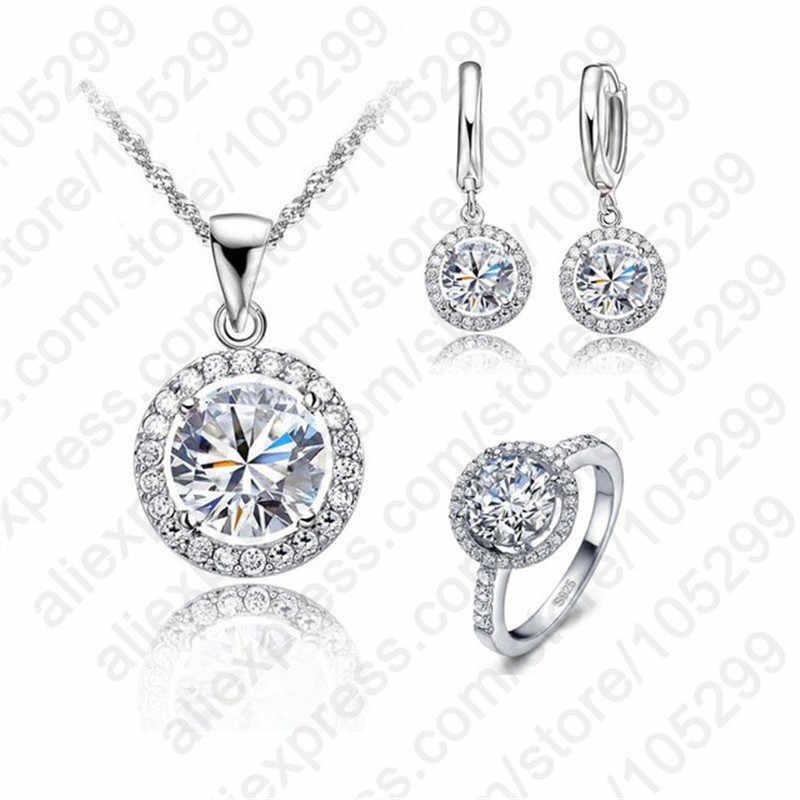Classic Round Zircon Crystal 925 Sterling Silver Necklace Earring Ring Jewelry Set for Women Wedding