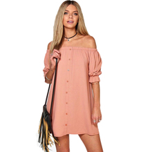 Sexy Slash Neck font b Dress b font Autumn Casual Half Puff Sleeve Mini font b