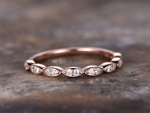 Art Deco Wedding Band 925 Sterling Silver Wedding Ring Rose Gold Plated  Anniversary Ring Thin Bottom
