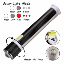 2-in-1 spotlight 1*COB LED +1*T6 Multi-function flashlight lanterna 7 Modes USB Rechargeable Torch for phone charger