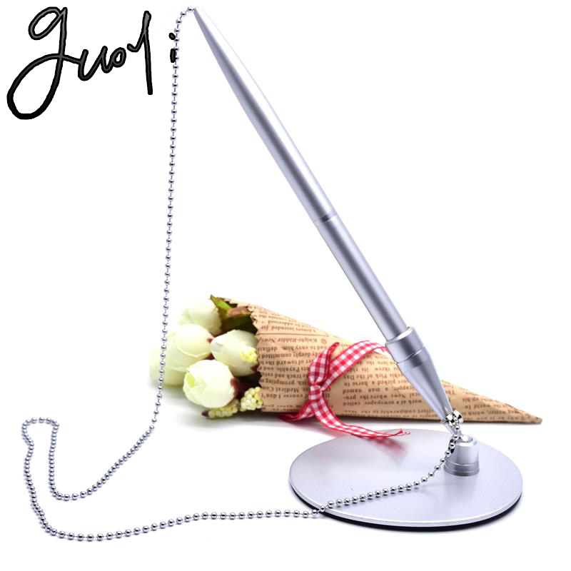 Guoyi A44 new metal Pedestal  ballpoint pen Office stationery learning School Customer gifts pen Pedestal Bead chain pen
