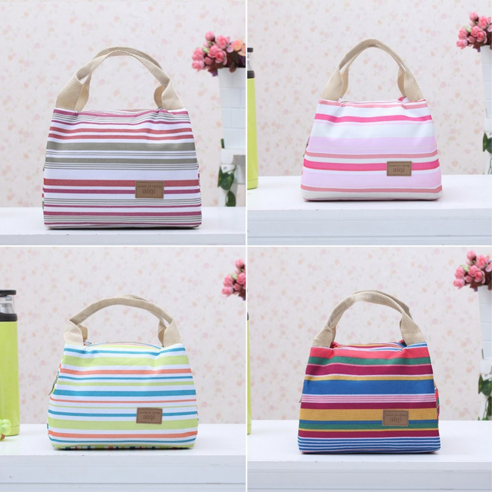 For Kids Lunch Bag Stripe Style Thermal Insulation Bag Travel Picnic Tote