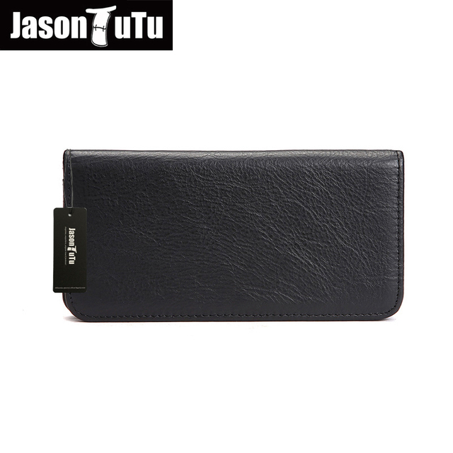 JASON TUTU Brand Mon Men Wallet Genuine Leather Mens Wallet blanc soft natural leather long wallets purse ship with box HN82