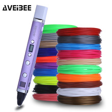 3D  Marker Pens With 100/200 Meter ABS Filament 3 d Printing Pens For Kid Birthday Gift School Supplies 3d pen model 3 d printer drawing magic printing pens with 100 200m plastic abs filament school supplies for kid birthday gifts