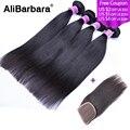 Malaysian straight hair with closure Human Hair 4 Bundles with Lace frontal closure Malaysian virgin hair with Closure