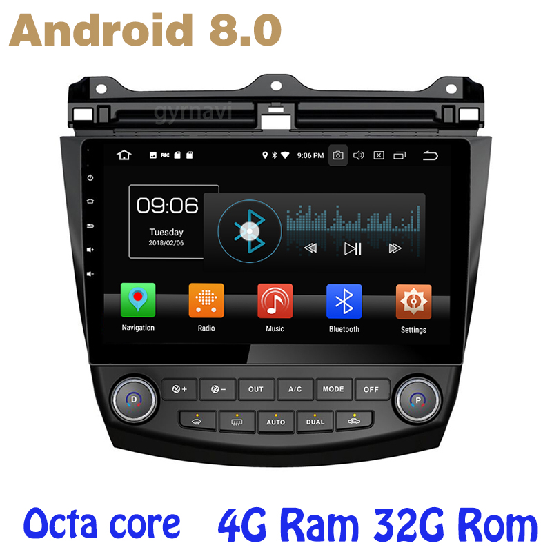 Octa core PX5 android 8.0 Voiture GPS radio pour honda accord 2003-2007 avec 4g BÉLIER sans dvd WIFI 4g bluetooth miroir lien radio