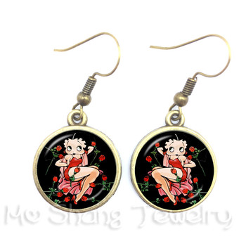 2018 New Sexy And Lovely Betty Boop Pattern Drop Earrings Charm Dangle Earrings Glass Dome Handmade Jewelry For Women 1