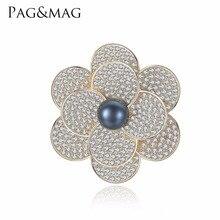 PAG & MAG Marca Brilhante Sliver 925 Black Pearl Broches & Pinos Broche Forma de Flor Para As Mulheres Do Vintage Cachecol Clipe Acessórios de jóias