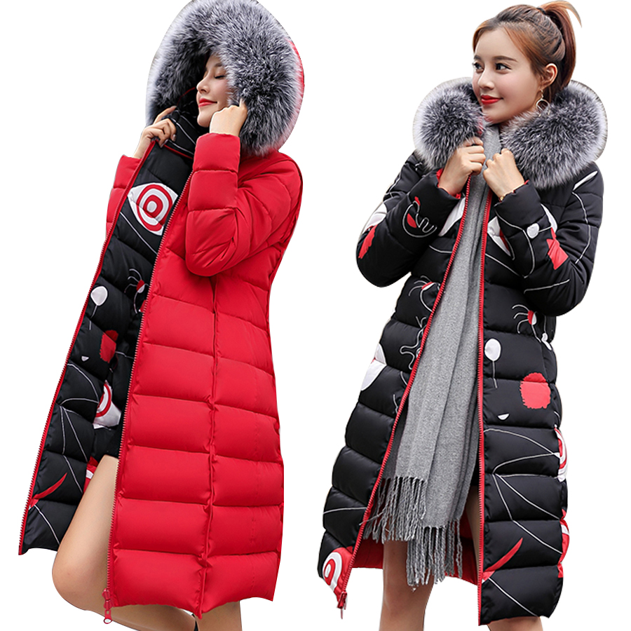 MANDADI winter clothes women 2019 fashion cotton padded coat fur collar outerwear hooded print long jacket female