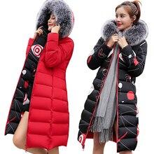 MANDADI winter clothes women 2019 fashion cotton padded coat fur collar outerwear hooded print long jacket female