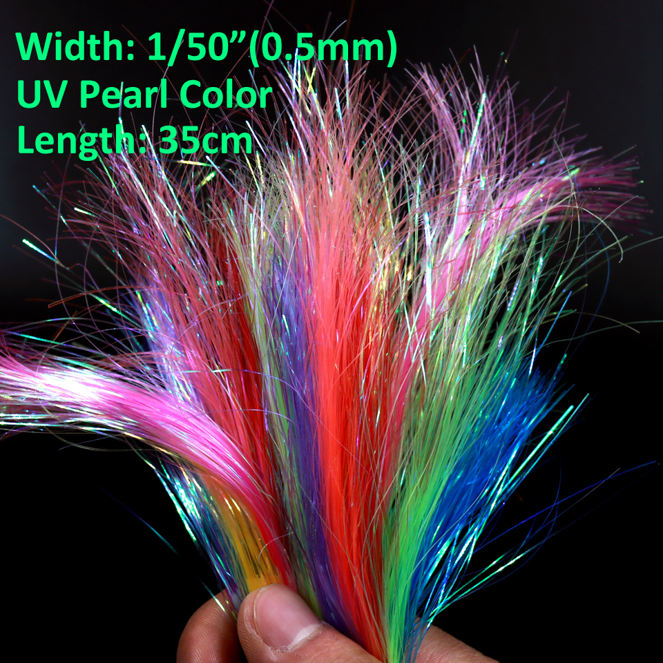 2 Packs 1/50 0.5mm UV Pearl Ice Wing Fly Tying Flashabou Tube Fly Tying Materials Streamer Pike Salmon Fly Pink Yellow Orange 5sheets pack 10cm x 5cm holographic adhesive film fly tying laser rainbow materials sticker film flash tape for fly lure fishing