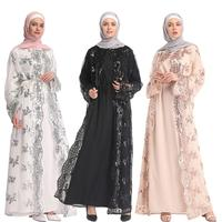 2019 Summer Mesh Sequin Kaftan Abaya Turkey Dubai Hijab Muslim Dress Abayas For Women Qatar Ramadan Caftan Robe Islamic Clothing