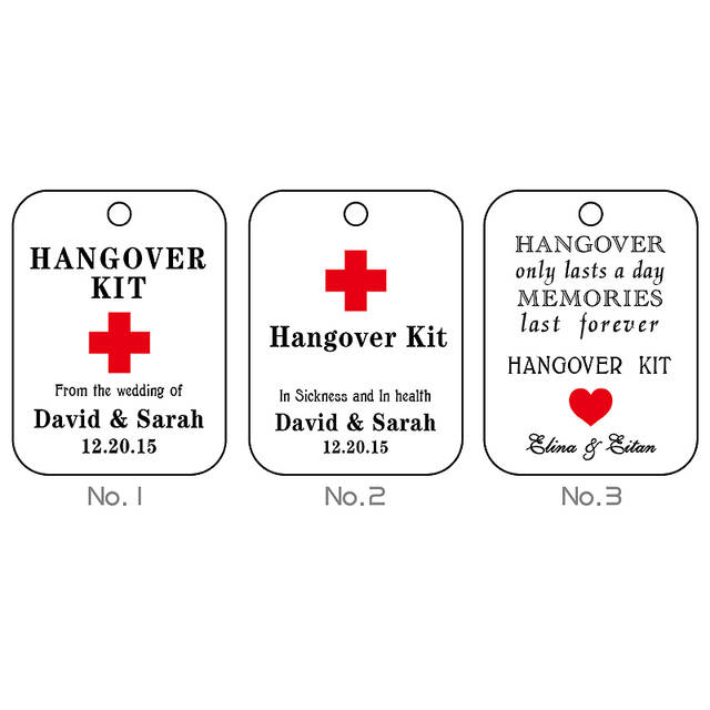 1e4ef374b3af Personalized Gift Tags Thank You Wedding Tag 100pcs/set Customized Hangover  Kit Tags