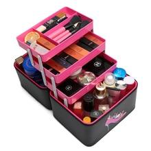 2019 Women Cosmetic Box 3 Layer Design High Quality Portable Bag Large Capacity Heel Pattern PU Makeup