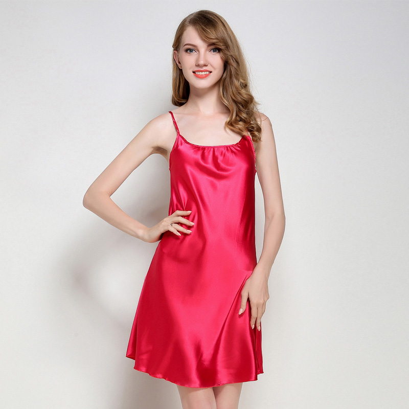 Women Sexy Silk Satin   Nightgown   Sleeveless Nighties Round Neck Nightdress Solid   Sleepshirt   Summer Night Shirt Sleep Dress