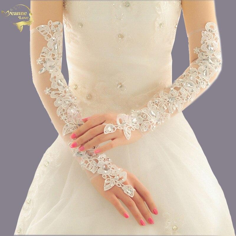 Luva De Noiva Long Opera Length Wedding Gloves For Bride Fingerless Crystal BlingBling Lace Bridal Gloves Wedding Accessories