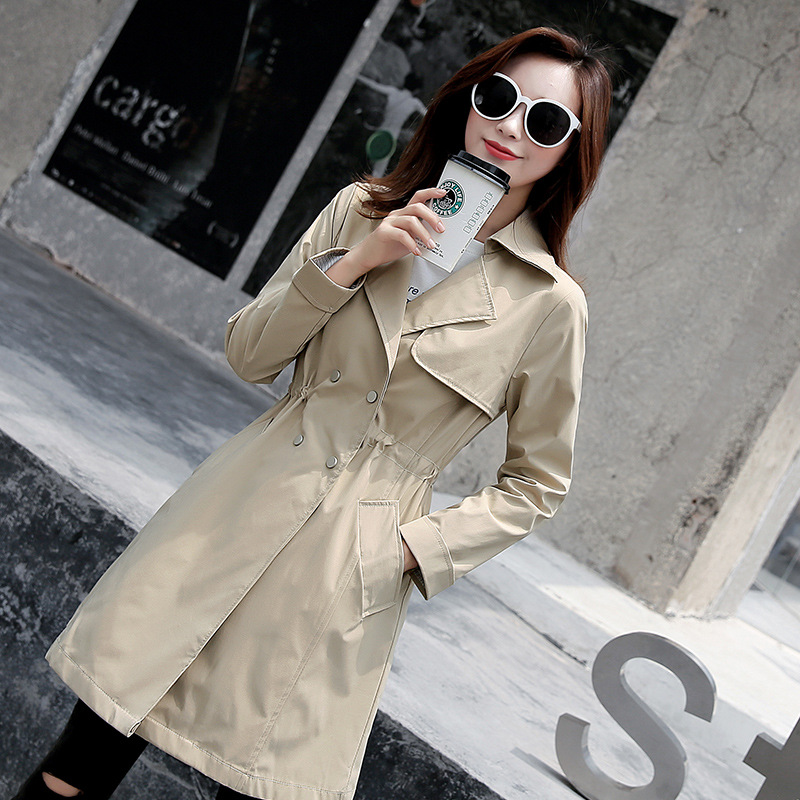 2019 Spring Autumn   Trench   Coat Chic Women's Long section Korean New Waist Drawstring Windbreaker Female Outerwear x881