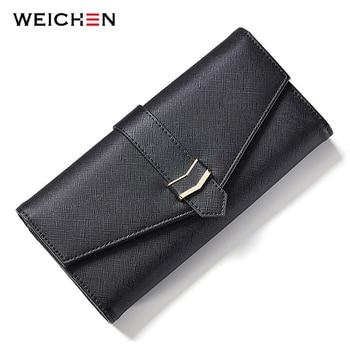 цена на WEICHEN Brand New Designer Geometric Envelope Women Wallet Black Long Female Wallets Purse Lady Card Wallet Ladies Clutch Bag