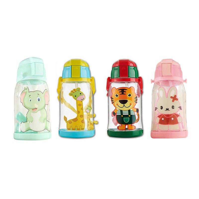 600mL Baby Cup Kids ChiLdren Cartoon SchooL Drinking Water Straw BottLe Straw Sippy Outdoor PC Cup