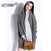 HZYRMY 2018 Autumn Winter New Women Cashmere Cardigan Fashion Soft Pure color High-Quality Coat Loose With cap Long Warm Jacket