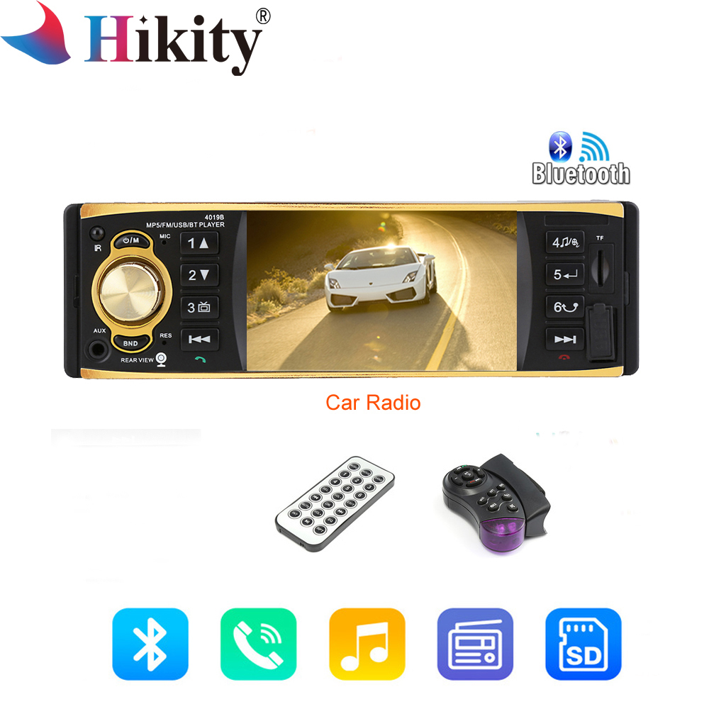 Hikity 4019B 1din Автомагнитола аудио стерео USB AUX радиостанции Bluetooth Авторадио MP3 плеер заднего вида Камера авто радио автомобиля