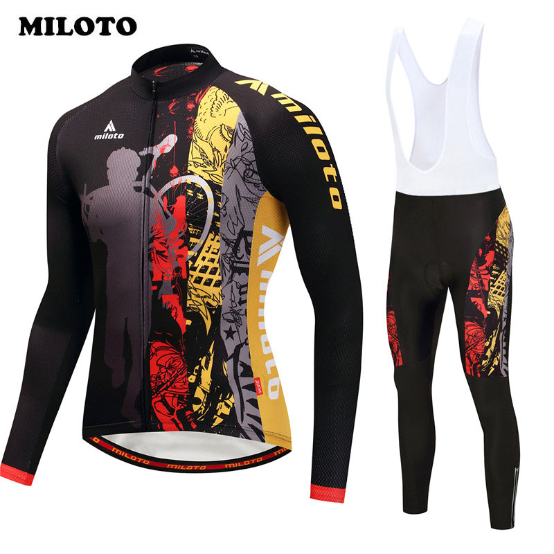 Miloto 2018 Autumn Cycling Clothing Set Long Sleeve team Cycling Jersey Set Racing Sports Bike Jersey