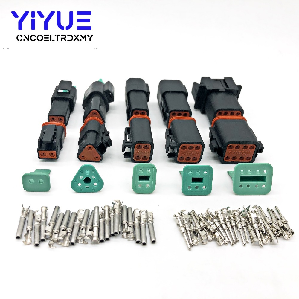Deutsch 10pcs DT 2 Pin Connector Kit 14 GA Solid Contacts Waterproof Electrical
