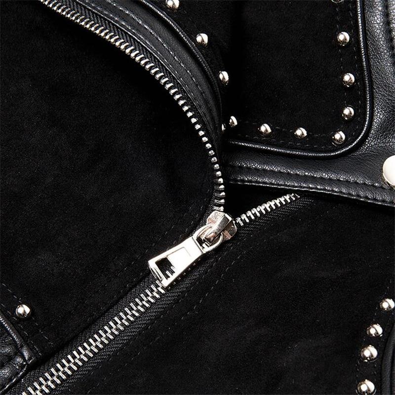 Vintage Court Classique Noir Simple Hiver Vestes Souple Automne Ceinture En Conception Femmes De Cuir Mince Rivet Rue Manteau Veste U01zR