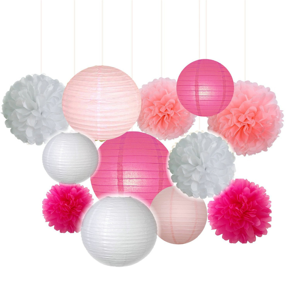 12Pcs/lot Chinese Paper Lanterns + Paper Flowers Decor for Birthday ...