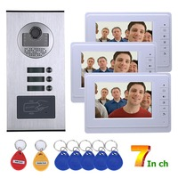 MAOTEWANG Video Intercom Systems 3 apartments 7 inch Video Door Phone System RFID IR CUT HD 1000TVL Doorbell Camera