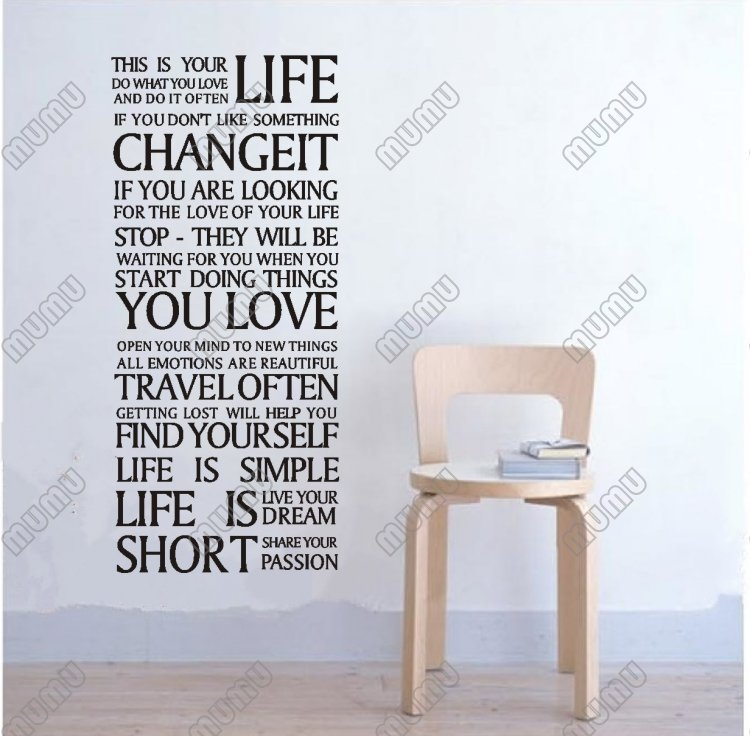 Lettering This Is Your Life Words Quote Bedroom Living Room Wall