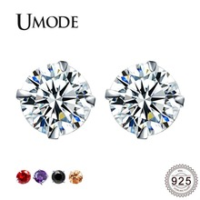 UMODE New Round CZ Crystal Stud Earrings for Women Pomegranate Red&Black&Champagne Gold&Purple Color Zircons Jewelries ALE0285