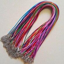 Застежка карабин 1,5 мм 100 шт. смешанный воск кожаный шнур ожерелье веревка кулон 45 см ювелирные изделия diy Подвески Бесплатная доставка Оптовая продажа