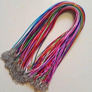 Image 1 - Broche de langosta de 1,5mm, 100 unidades de cuerda de cuero de cera mixta, collar, colgante de cuerda de 45cm, joyería diy, colgantes, venta al por mayor