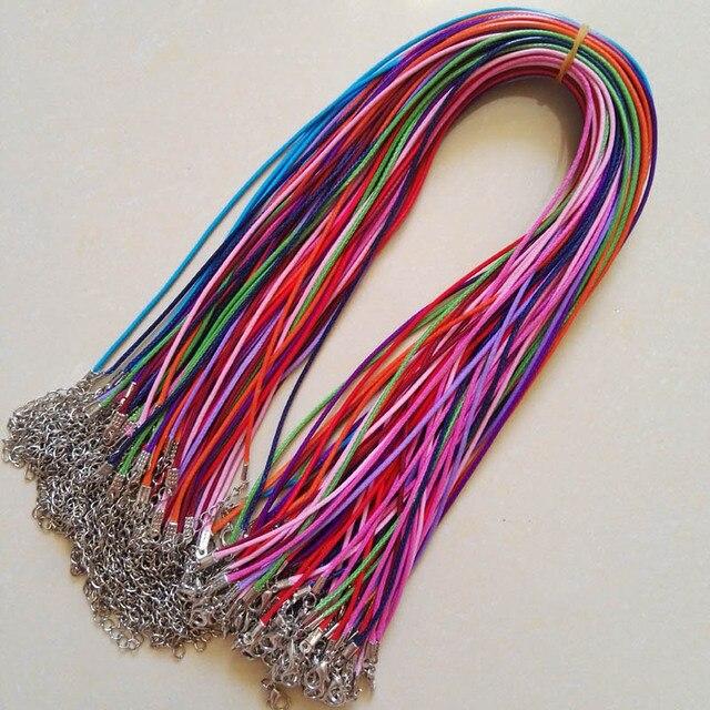 Broche de langosta de 1,5mm, 100 unidades de cuerda de cuero de cera mixta, collar, colgante de cuerda de 45cm, joyería diy, colgantes, venta al por mayor