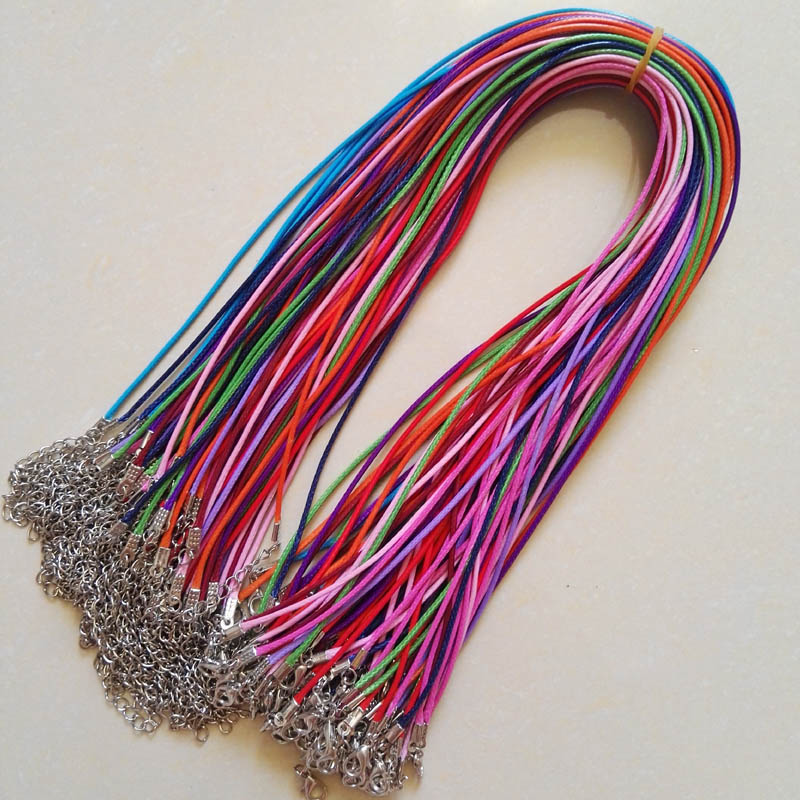 Lobster clasp 1.5mm 100pc mixed Wax Leather Cord necklace rope pendant 45cm jewelry diy pendants Free shipping wholesale title=