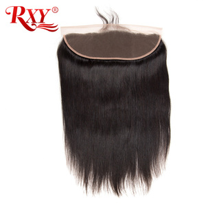 RXY Brazilian Hair Closure 13x4 Straight Ear To Ear Lace Frontal Closure Pre Plucked Remy Human Hair Closure With Baby Hair #1b