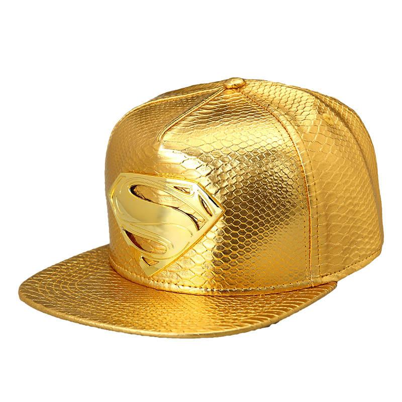 High-Quality-2016-Star-PU-Hats-Supermen-Snapback-Gold-Caps-Hip-Hop-Baseball-Hats-Popular-Mens