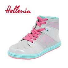 Helleniagirls new 2018 کفش کودکان و نوجوانان دختران توری گاه به گاه توری بهار دختران پاییز بهار مد کفش ورزشی خاکستری اندازه 33-36