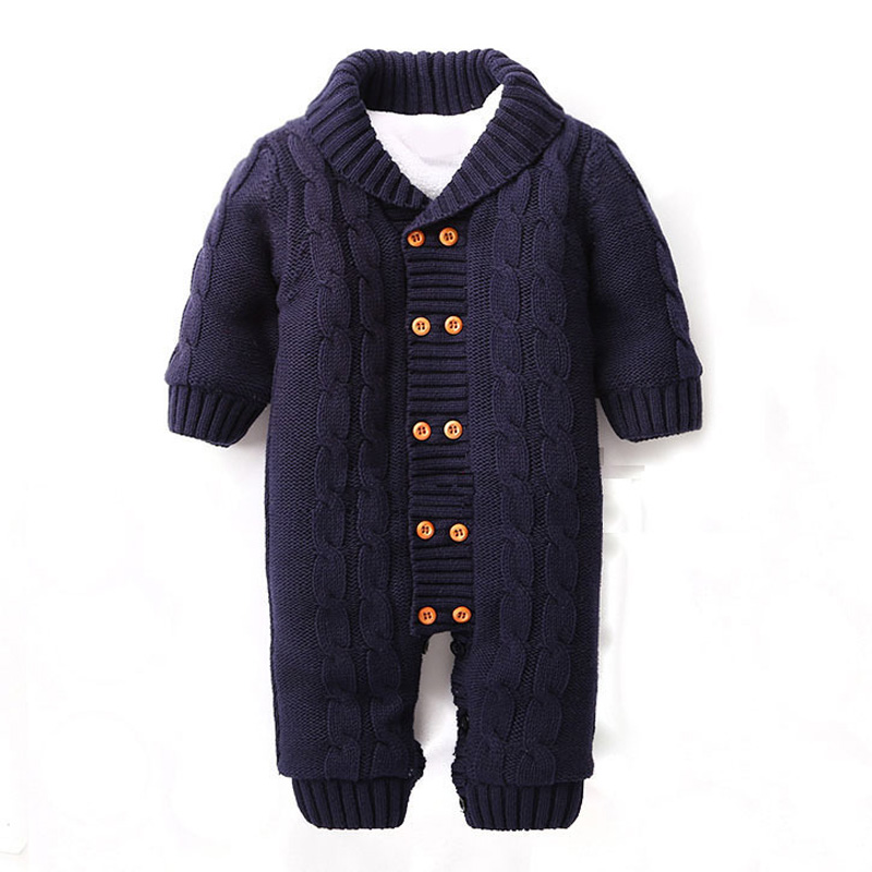 New fashion winter Infantil double breasted girls plaid kids clothes jumpersuit knitted long sleeve outfit boy rompers