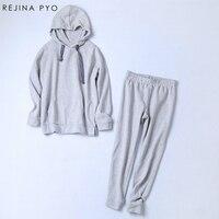 Rejina Pyo New Fashion 2 Piece Clothing Set Women Grey Crop Top And Pants Suit Ladies