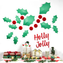 Christmas Decoration 3D Wall Stickers Holly Jolly Mistletoe Leaves Mini Red Honeycomb Balls Ornaments Home Party Supplies DIY
