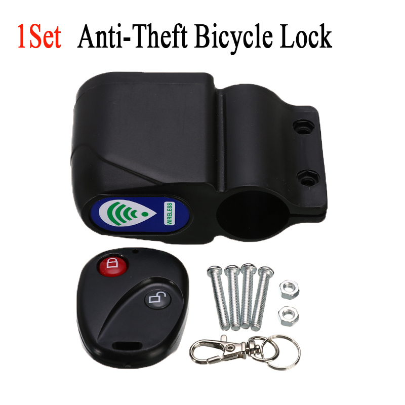 Anti-Theft Motorcycle Bicycle Lock Cycling Security Lock Wireless Vibration <100mA Remote >105dB Universal Bike Alarm Lock
