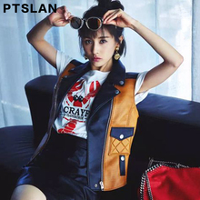 Ptslan Women Real Leather Vest Jackets Short Coats Female Sleeveless Motorcycle Genuine Leather Jacket Casual Tops
