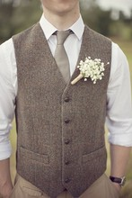 2019 Airtailors Vintage Brown tweed Vests Wool Herringbone British style Custom Slim Fit Vest Plus Size